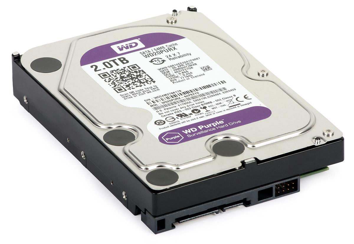 """WD Purple 2TB Surveillance Hard Drive AV 3.5/"""" 2TB 64MB SATA 6Gb//s WD20PURZ"""
